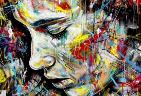 Giclee-Art Print-05575-Colourful Woman-Graffiti-Art Paper-A